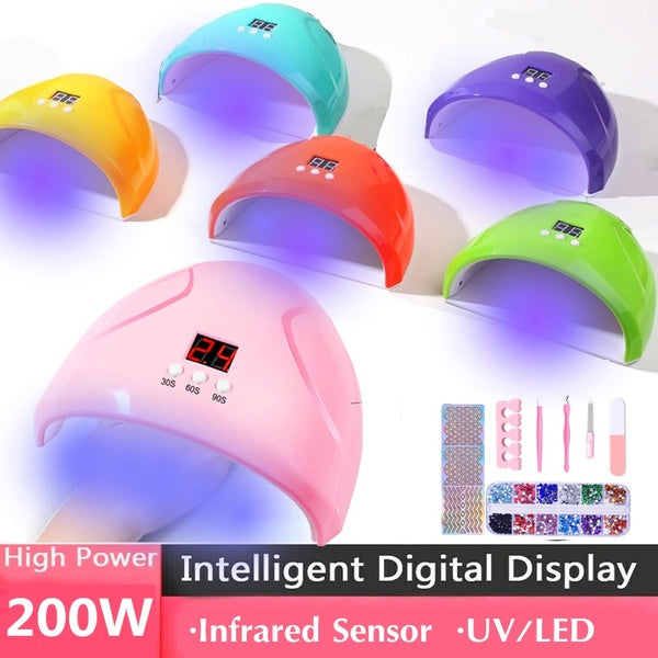 Nail Tools Only/Nail Lamp/ Nail Lamp with Tools 7 Color 12 LED UV/Sunlight Nail Dryer Lamp Gel Polish Curing Manicure Machine Sensor