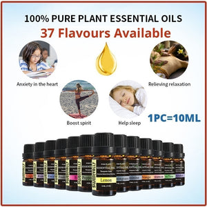 1PC 10ml 100% Pure & Natural Aromatherpy Aroma Essential Oil Lavender/Rose/Jasmine Pure Plant Essential Oil Therapeutic 26 Flavours