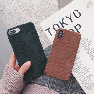 Luxury Vintage Plush Phone Cases For iPhone 11 11pro max X XS XR XS Max Matte Hard Pc Case For iPhone 7 8 6 6s Plus Back Cover