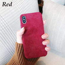 Load image into Gallery viewer, Luxury Vintage Plush Phone Cases For iPhone 11 11pro max X XS XR XS Max Matte Hard Pc Case For iPhone 7 8 6 6s Plus Back Cover