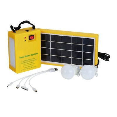 Solar Power Panel Generator System With/Without 2 LED Light Lamp 5V USB Heads Charger Outdoor Emergency Lighting Camping