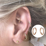 1/2Pcs hoop cartilage pave huggies earring helix tragus daith conch rook snug ear piercing Jewelry