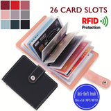 Women Men Leather 26 Slots ID Credit Card Holders RFID Blocking Wallet Case Pocket Bag