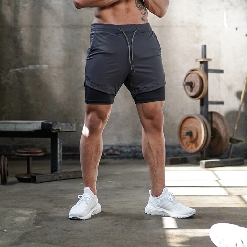 2020 New Men's Functional Shorts Inside Phone Storage Running Gym Training Sport Short Pants