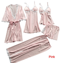 Load image into Gallery viewer, Women's Fashion Pajamas Sets Silk Lace Lingerie Bathrobes Suits Homewear Sleepwear 5 PCS Set