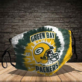 Green Bay Packers Football Team Face Covering 3-Layer Cotton Bacteria Inproof All Over Print 1-10 Pcs