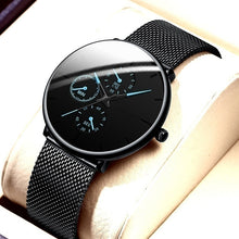 Load image into Gallery viewer, Fashion Mens Business Black Watches Luxury Stainless Steel Ultra Thin Mesh Belt Quartz Men Wrist Watch Casual Date Classic Male Watch Herren Uhren