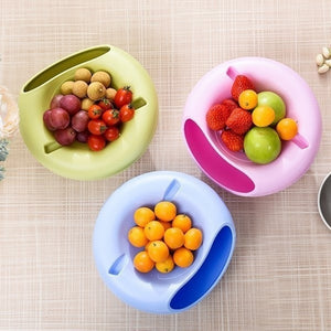 Creative Plastic Double Layer Bowl Storage Box Organizer Garbage Jewelry Phone Plate Holder Dried Fruit Snack Seeds Containers