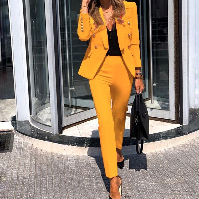 Spring and Summer 2020 Women's Solid Color Two-piece Casual Blazer Jacket and Pants Size XXS-2XL