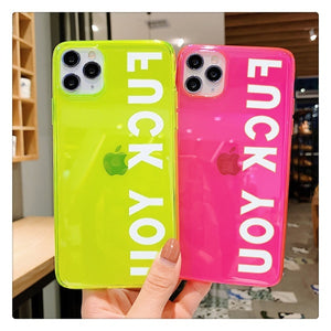 Fashion Letters Fluorescent Neon Color Phone Case For iphone SE 2 2020 11 Pro Max XR X XS Max 7 8 plus Back Cover Transparent Soft Cases