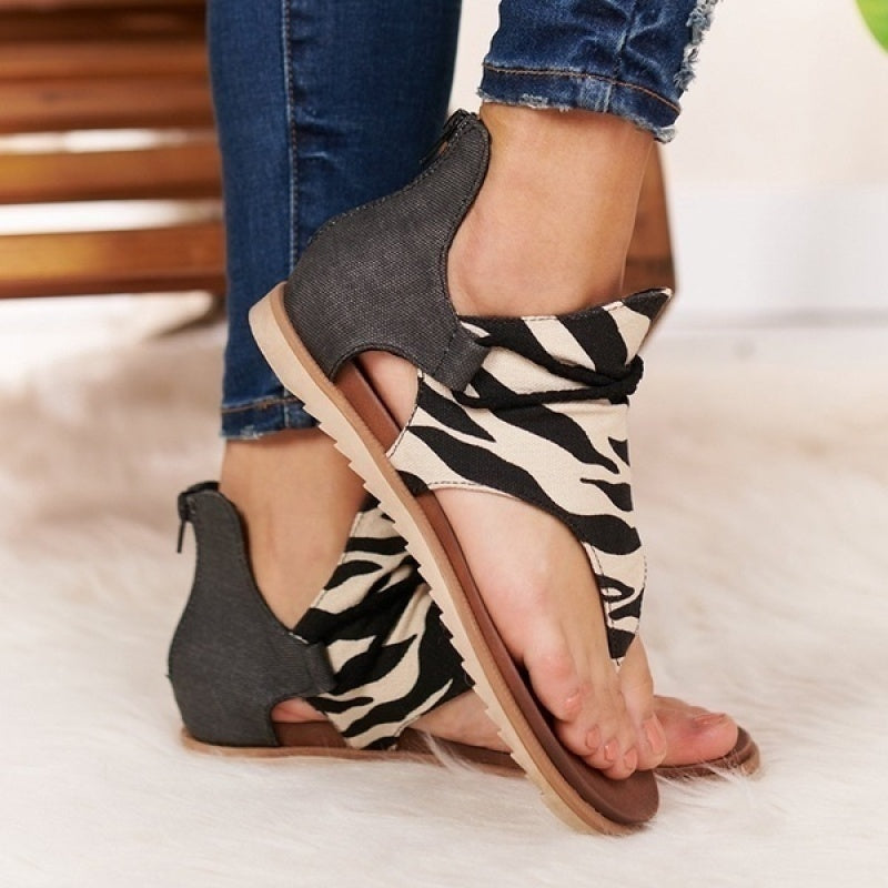 New Fashion Women Slingback Sandals Casual Leopard Flip Flops Animal Print Sandals Plus Size 35-43