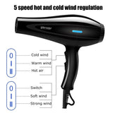 Strong Wind 4200W 5 Gear Professional Hair Dryer, Set of 8 Electric Hair Dryer with Comb Thermostat Hair Salon