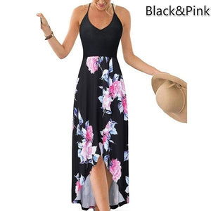 Women s Fashion Summer Casual Floral Printed V-Neck Sling Dress High Waist Big Swing Dress