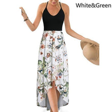 Load image into Gallery viewer, Women s Fashion Summer Casual Floral Printed V-Neck Sling Dress High Waist Big Swing Dress