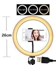 Load image into Gallery viewer, 10.2' LED Selfie Ring Light with Tripod Stand & Phone Holder for Live Streaming & YouTube Video, Dimmable Makeup Ring Light for Photography