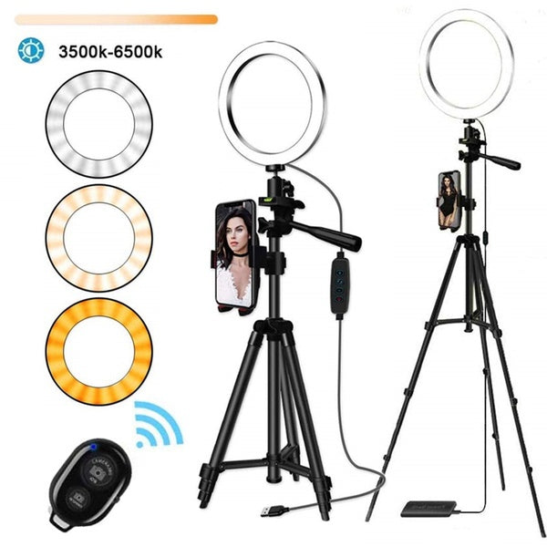 10.2' LED Selfie Ring Light with Tripod Stand & Phone Holder for Live Streaming & YouTube Video, Dimmable Makeup Ring Light for Photography