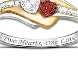 Women Elegant 925 Silver Lettering Two-tone Heart Spiral Shaped Diamond Rose Gold Ring size 5-10