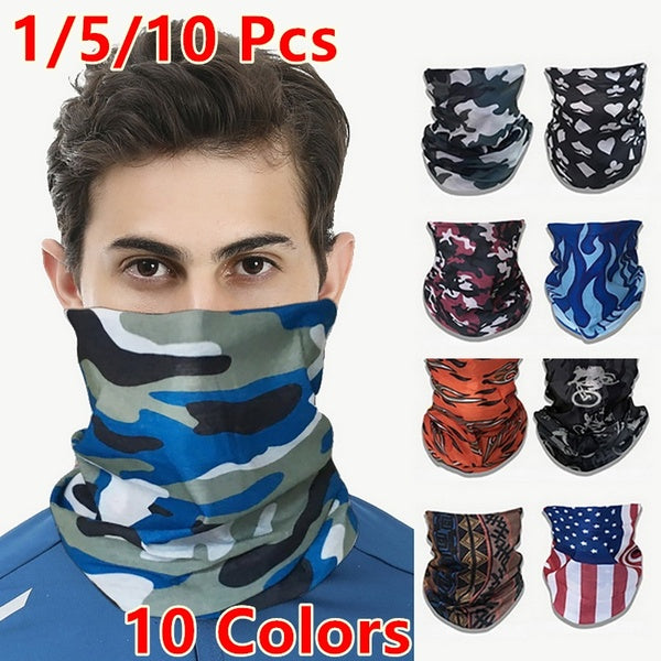 1/5/10Pcs Fashion Men Multifunctional Headwear Neck Mask headwear Face Gaiter Headdress Face scarf