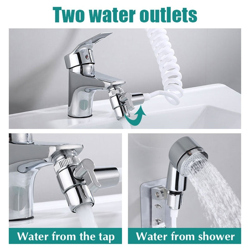 Bathroom Basin Faucets Nozzle Extended Faucet Sprinkler Shower Head Wall Mounted For Washing Face Hair Pet Cat Dog Cleaning