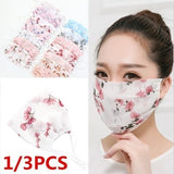 1/3PCS Women's Floral Print Sunscreen Lace Mask Lady's PM 2.5 Breathable Embroidery Mouth-muffle