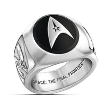Load image into Gallery viewer, Star Trek Academy Ring Men's Badge Ring Collector Ring Men's Sterling Silver Black Agate Ring