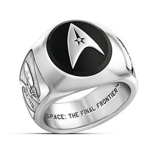 Star Trek Academy Ring Men's Badge Ring Collector Ring Men's Sterling Silver Black Agate Ring