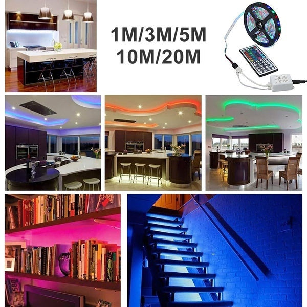3.28-65.61ft 100-2000cm 20M USB LED Waterproof String Light Lamp Flexible RGB Changing Light Tape with Remote Control Ribbon