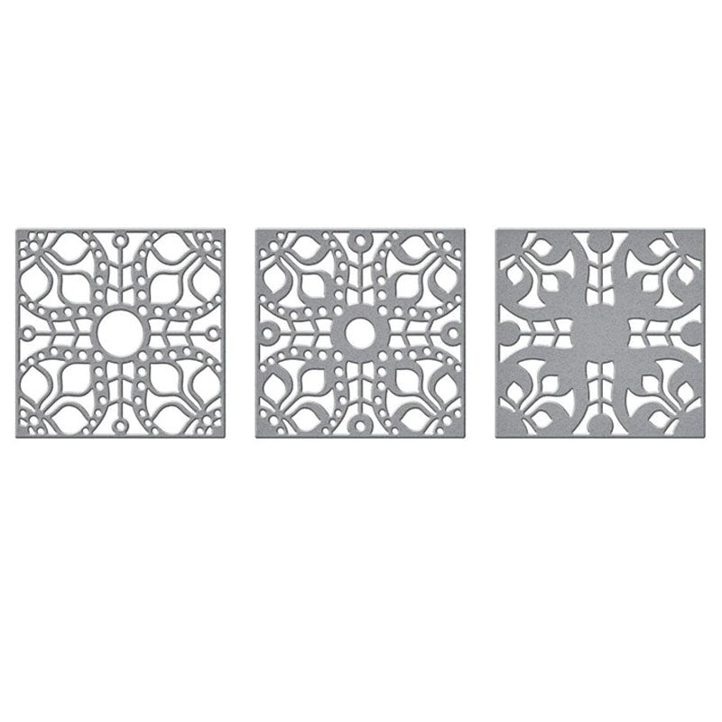 New 2020 Metal Cutting Dies 3 Pcs/Set Square Laced Frame Festival Cutting Dies Stencils for DIY Scrapbooking Embossing Album Paper Cards Making Decorative Crafts