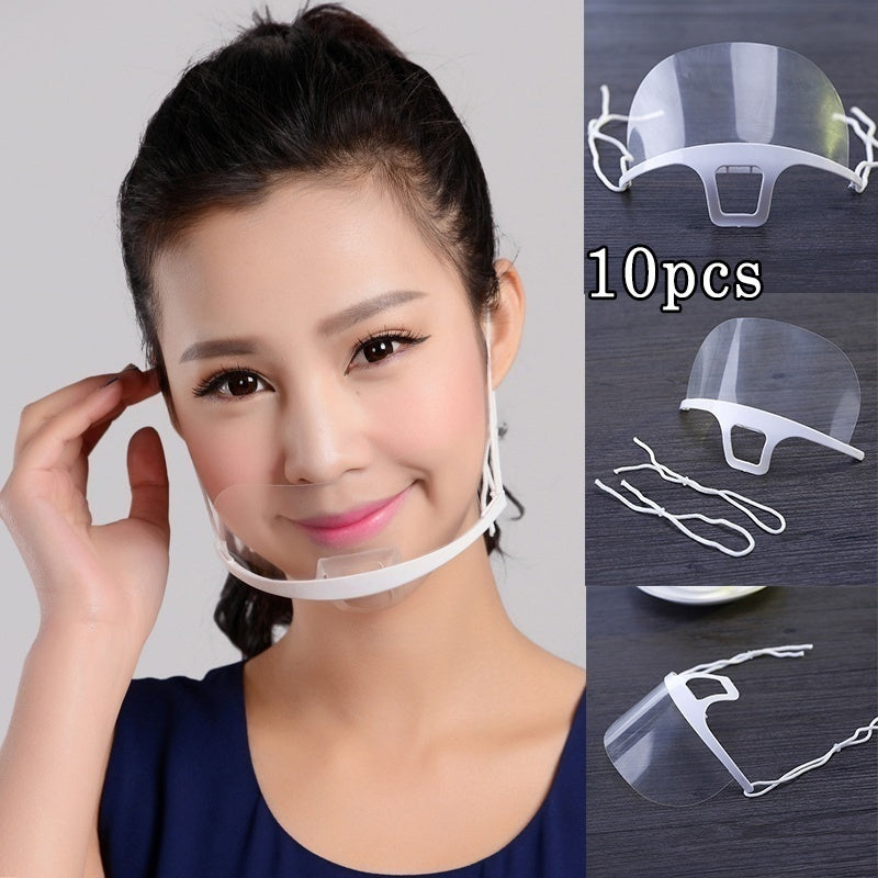 10pcs/set Healthy Transparent Masks Permanent Anti Fog Catering Food Hotel Plastic Kitchen Restaurant Masks