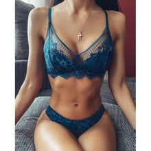Load image into Gallery viewer, XS-5XL Women's Fashion Floral Lace Lingerie Sets See Through Sexy Bra Hollow Out Mesh Bra Set Two Piece Bikini Set Push Up Bra + Low Waist Panties Underwear Bralette Tops Briefs Set Solid Color Swimsuit Plus Size Bra Set 5 Color