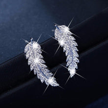 Load image into Gallery viewer, New gorgeous feather earrings mountaineer's Cuff Earrings 925 Silver 18K gold crystal diamond leaf cluster wedding earrings for women