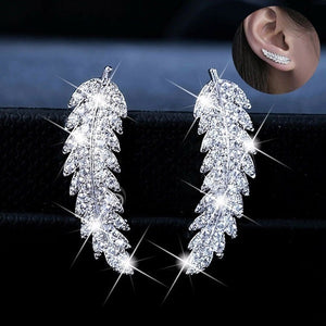 New gorgeous feather earrings mountaineer's Cuff Earrings 925 Silver 18K gold crystal diamond leaf cluster wedding earrings for women