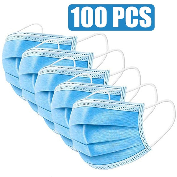 50pcs/100pcs  Mask Hermetically Packed Disposable Protect 3 Layers Filter Dustproof Earloop Non-Woven Mouth Masks