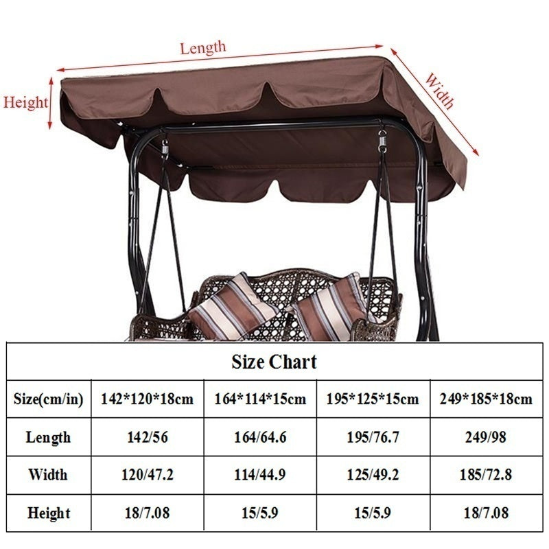 2020 New Outdoor Garden Patio Swing Canopy Seat Top Waterproof Sunshade Cover Replacement(not Including Chairs)
