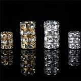 100pcs Silver Gold Crystal Rhinestone Rondelle Spacer Beads DIY 6mm 8mm New