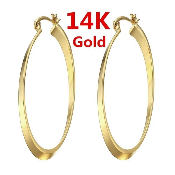 Simple ladies 14K solid gold earrings ladies jewelry gift length about 58mm width about 30mm