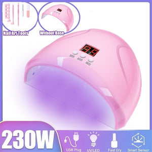 [ 230W ,UV/Sunlight,LCD,USB ] LED Nail Lamp Nail Art Gels Dryer Curing Timing Manicure Machine