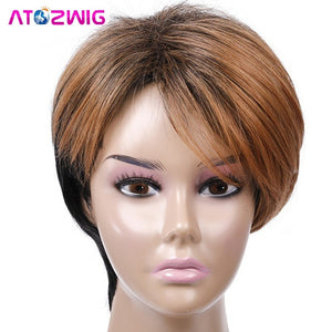 Short Straight Heat Hair Pixie Cut Wig Peruca Mixed Silver Grey Blonde Ombre Hair Wigs For Fashion Women Lady