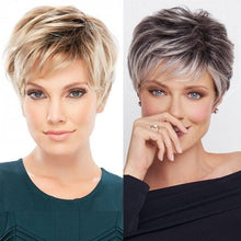 Load image into Gallery viewer, Short Straight Heat Hair Pixie Cut Wig Peruca Mixed Silver Grey Blonde Ombre Hair Wigs For Fashion Women Lady