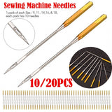 10/20pcs Sewing Needles Accessories Home Sewing Machine Needles Gold Embroidery Needles for Domestic Sewing Machine #9, 11, 14, 16,18