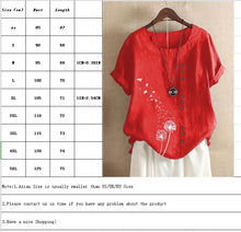 Load image into Gallery viewer, Cotton Shirt Tops Women's Summer Casual Loose Short-sleeved Printed Ladies Shirt