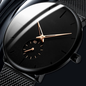 Classic Elegant Black Mens Fashion Luxury Mesh Belt Ultra Thin Watches Herren Uhren Business Casual Leather Strap Analog Quartz Wrist Watch Gifts for Men