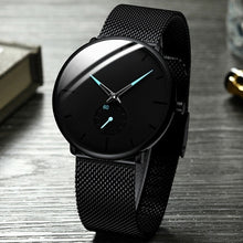 Load image into Gallery viewer, Classic Elegant Black Mens Fashion Luxury Mesh Belt Ultra Thin Watches Herren Uhren Business Casual Leather Strap Analog Quartz Wrist Watch Gifts for Men
