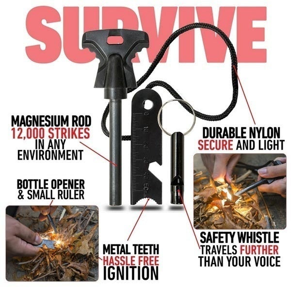 Outdoor Emergency Survival Stone Fire Starter Flint Striker Lighter Kit for Outdoors Travel Camping 2 Style