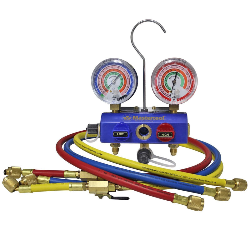 Mastercool 2 Way Aluminium Manifold Mastercool R410a R407C R22 2 Way Manifold Gauge Set With Ball Valves 57272-EB