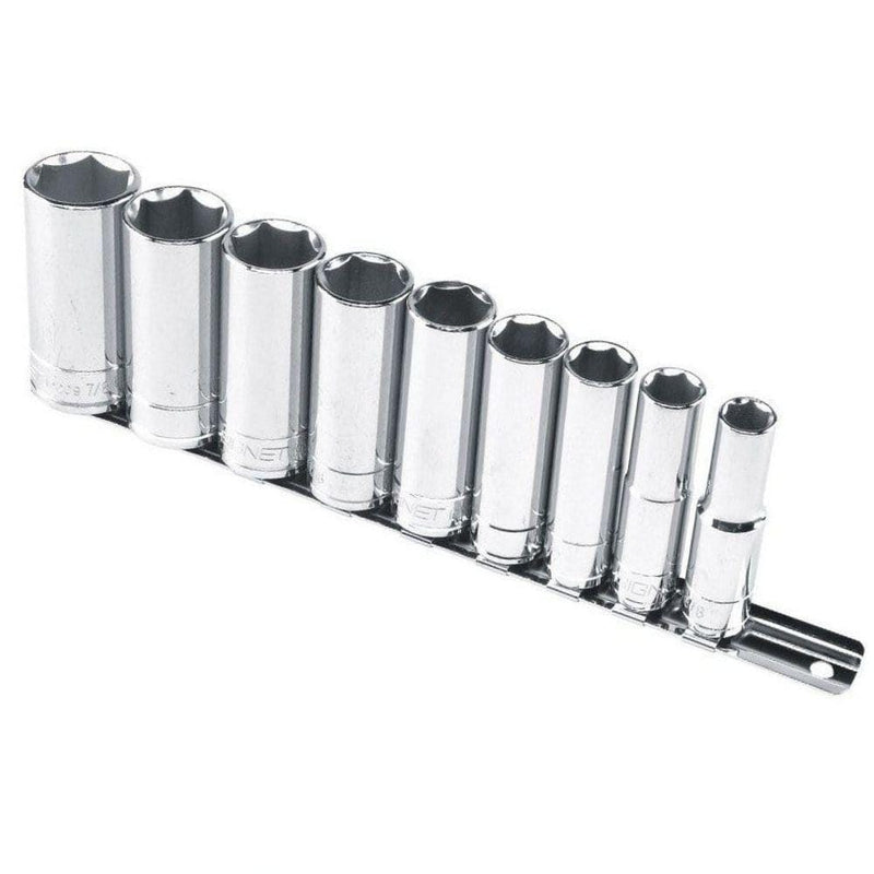 "Signet Chrome Sockets S12215 Signet Socket 9 Piece Set 3/8"" Drive Deep SAE Imperial"