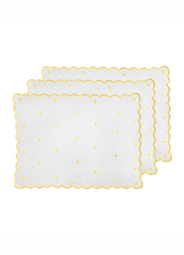 DOT PLACEMATS SET YELLOW