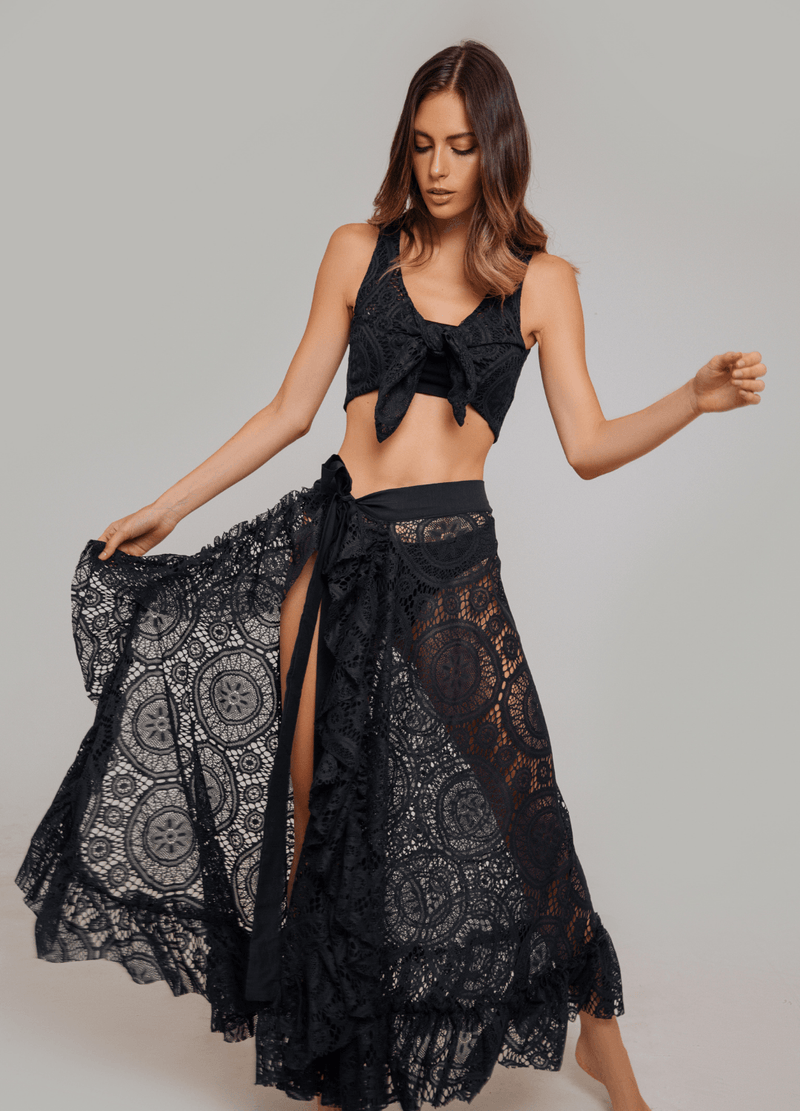 NOEMI WRAP SKIRT BLACK