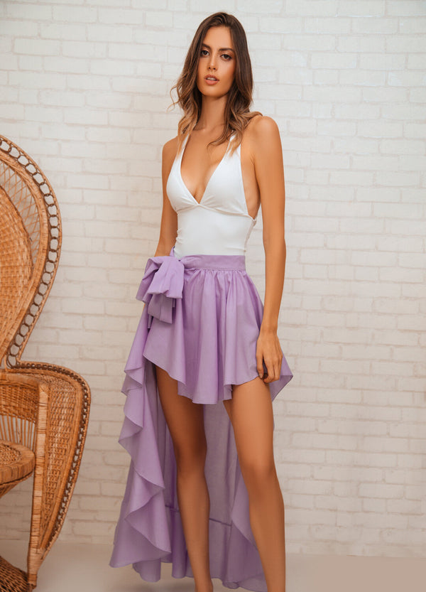 FLAMENCO SILK WRAP SKIRT VIOLET