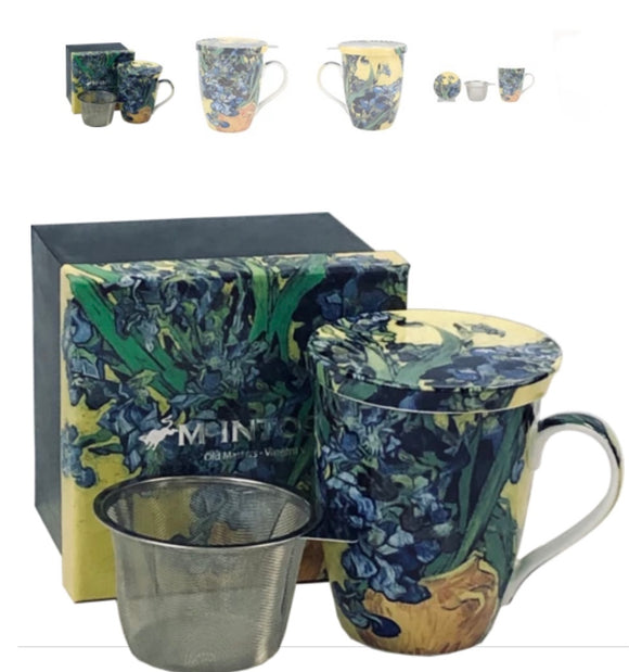 Irises Tea Mug with Infuser & Lid